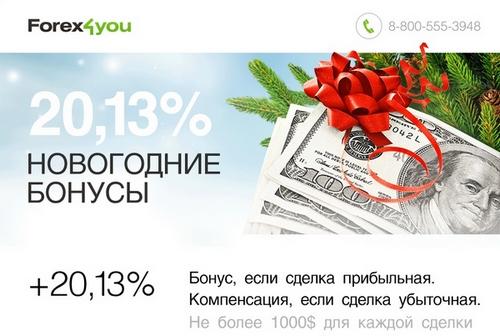 Не упустите Новогодние бонусы от компании Forex4you Еще больше подарков к Новому году